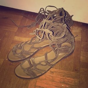 Faux Suede Lace Up Lulu's Gladiator Sandals,Size 9